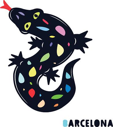 Mosaic hand drawn lizard. Symbol of Barcelona.