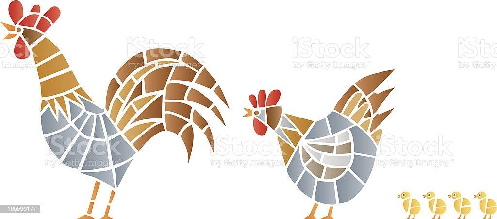 Gallinas mosaico ilustración de gallinas mosaico y más banco de imágenes de agricultura libre de derechos