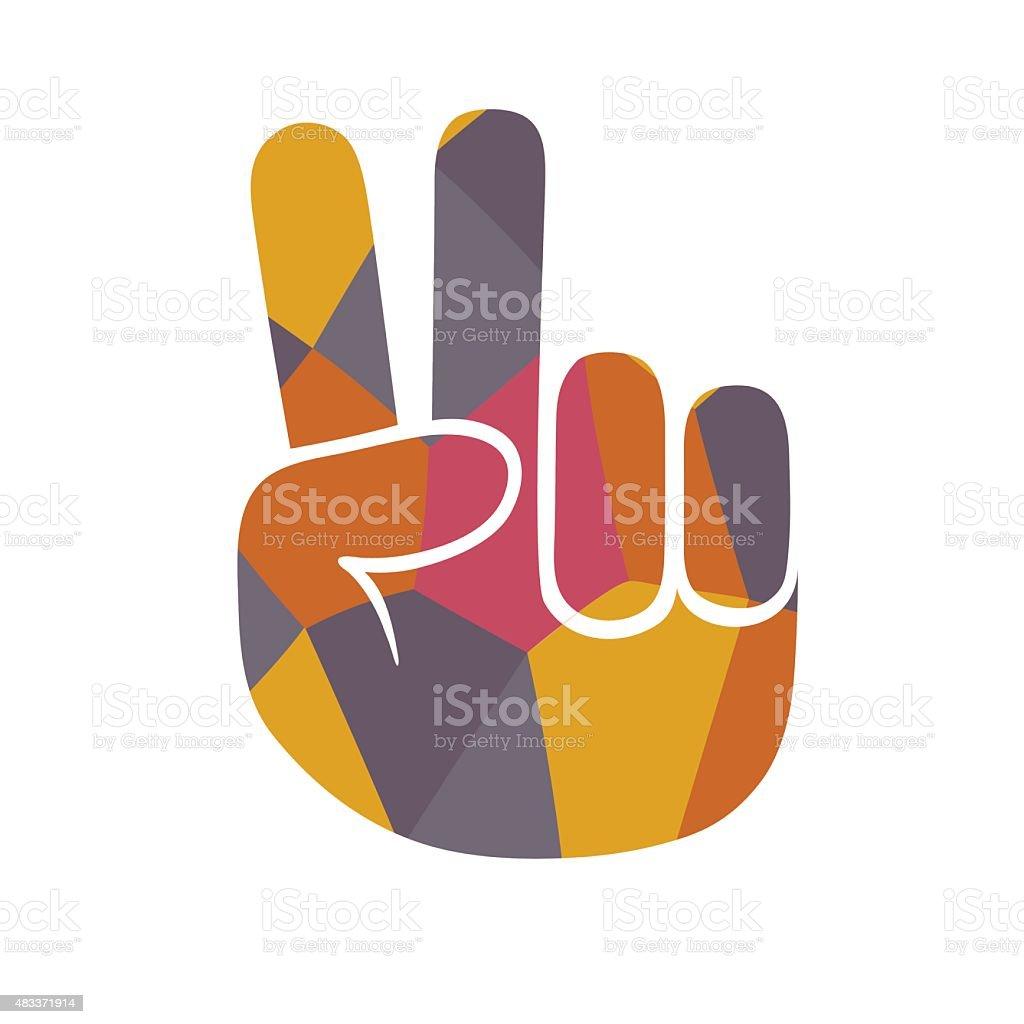 Mosaic peace gesture vector art illustration