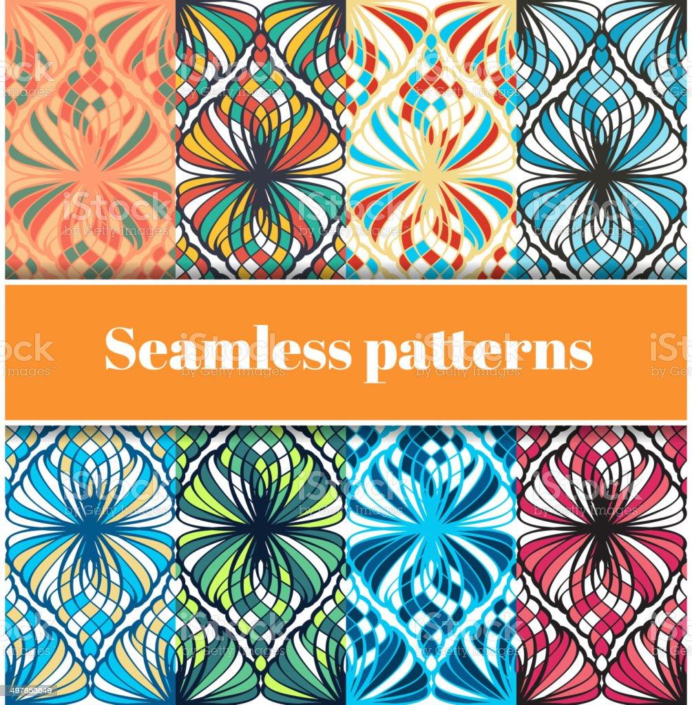 Mosaic Seamless Patterns Set vector art illustration