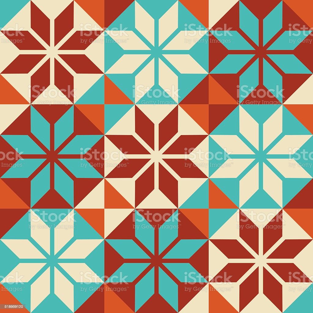Mosaic tile colorful pattern in patchwork style vector art illustration