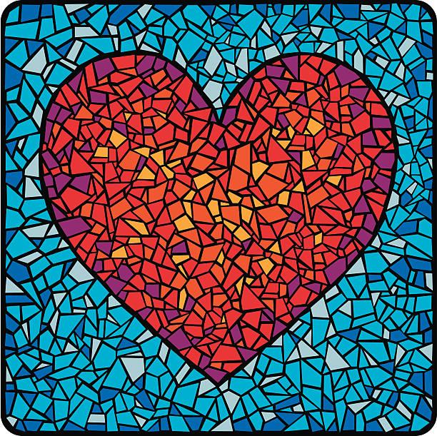 mosaik-fliesen herz - mosaikglas stock-grafiken, -clipart, -cartoons und -symbole