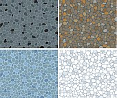 Stone mosaic floor in four different natural color schemes.