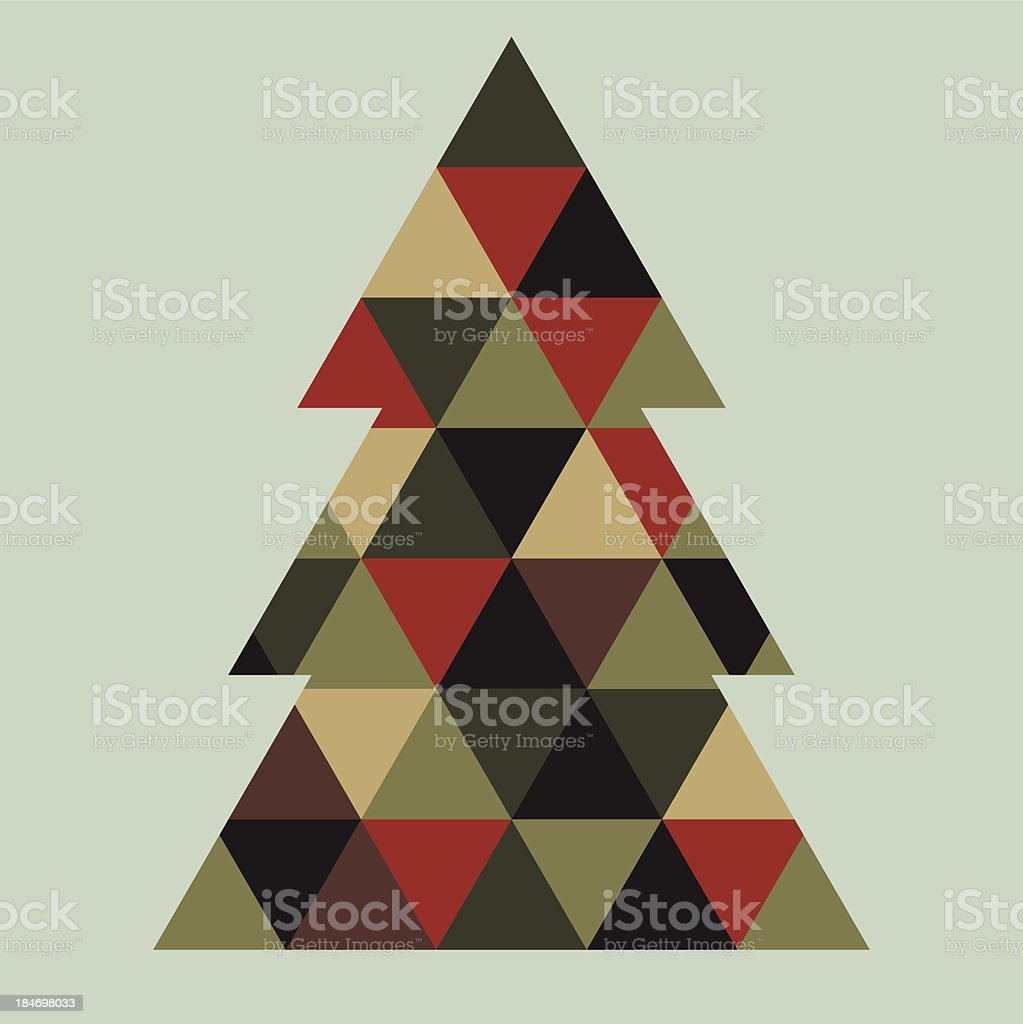 Mosaic xmas tree vector art illustration