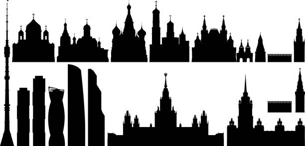Moscow Buildings Moscow buildings. kremlin stock illustrations