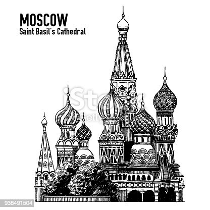 Moscow city colorful emblem with St. Basil's Cathedral, ribbon banner with Moscow sign in russian. Isolated on white.
