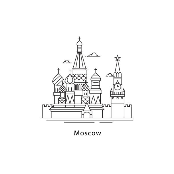 Moscow city icon isolated on white background. Moscow line vector illustration. Traveling to the capital of Russia concept. Moscow city icon isolated on white background. Moscow line vector illustration. Traveling to the capital of Russia concept kremlin stock illustrations