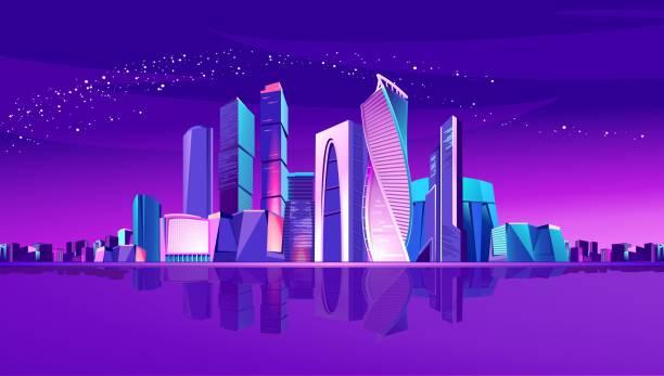 bildbanksillustrationer, clip art samt tecknat material och ikoner med moskva city neon - future city