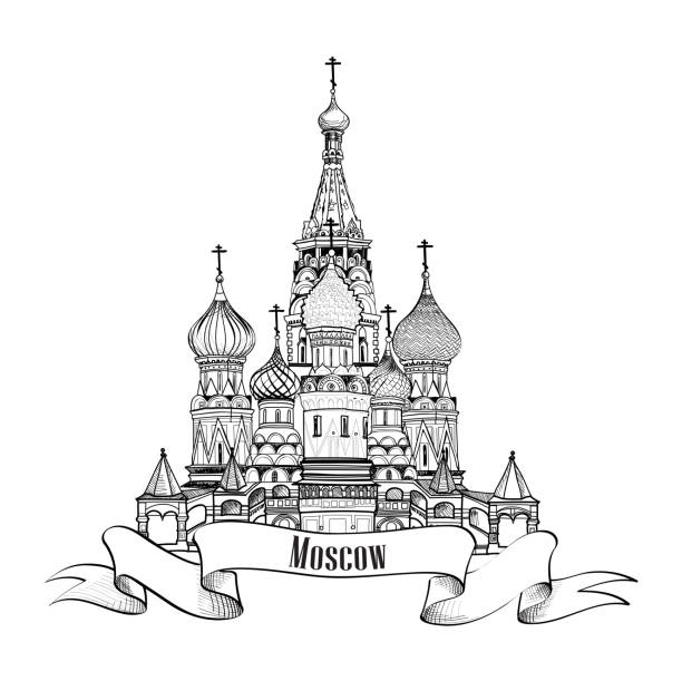 Moscow City Symbol. St Basil's Cathedral, Red Square, Kremlin, Moscow, Russia. Travel sign engraved sketch illustration. Moscow City Symbol. St Basil's Cathedral, Red Square, Kremlin, Moscow, Russia. Travel icon vector hand drawn sketch illustration. kremlin stock illustrations