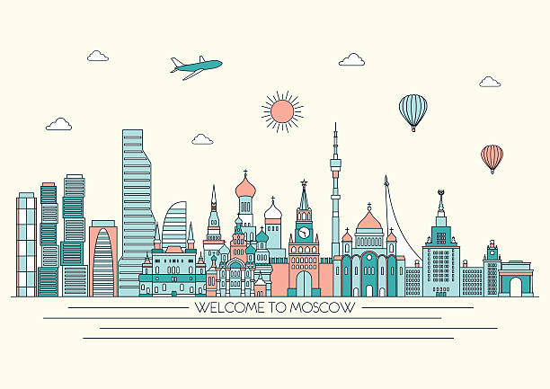 Moscow detailed skyline. Vector background. line illustration. Line art style Moscow detailed skyline. Vector background. line illustration. Line art style loon bird stock illustrations