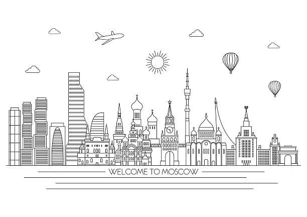 Moscow detailed skyline. Vector line illustration. Line art style. Moscow detailed skyline. Travel and tourism background. Vector line illustration. Line art style. kremlin stock illustrations