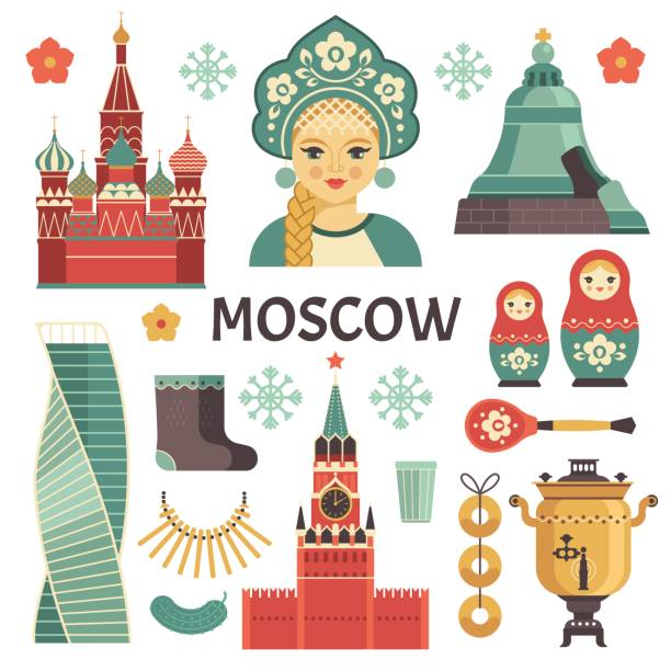 Moscow icons set. Vector collection of Russian culture and attractions images, including St. Basil's Cathedral,  russian doll, Kremlin, samovar, Russian beauty in kokoshnik. Isolated on white. kremlin stock illustrations