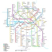 Vector detailed scheme of the Moscow subway, monorail and Moscow Central Circle | 2019