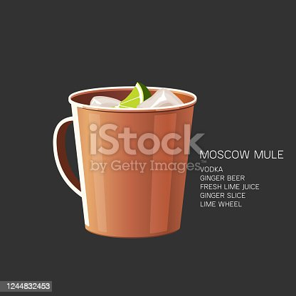 Moscow Mule cocktail illustration. Alcoholic cocktail with vodka, ginger beer and lime juice. Vector illustration