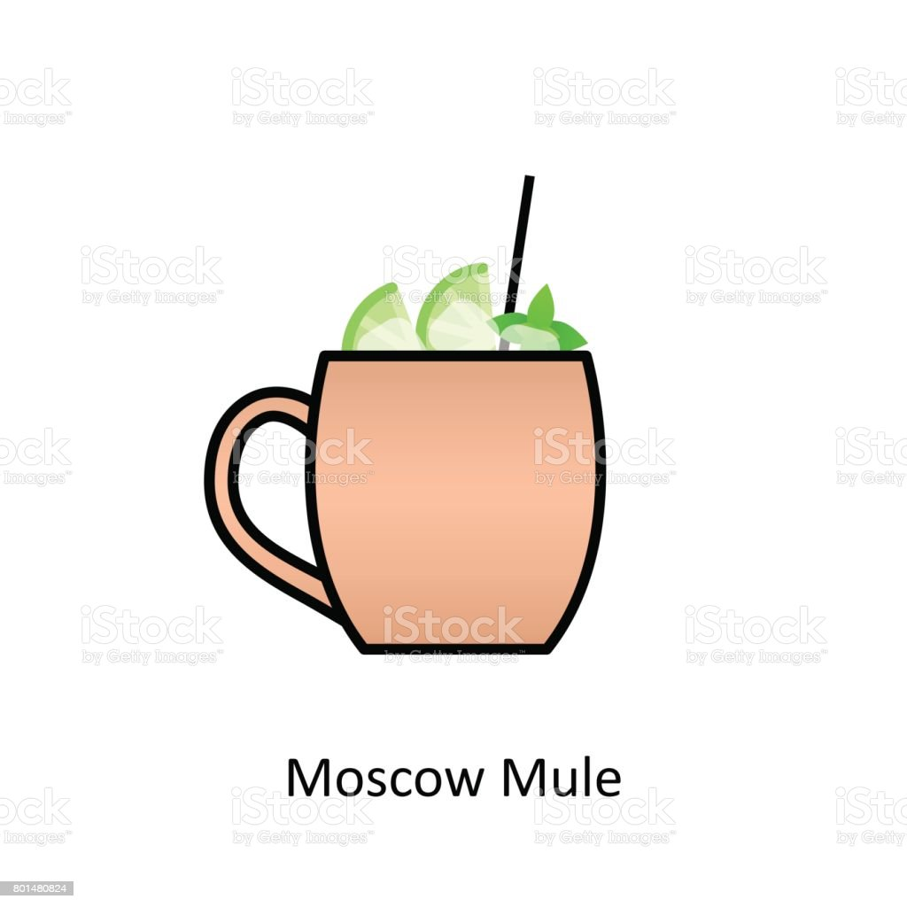 Moscow Mule cocktail icon in flat style vector art illustration