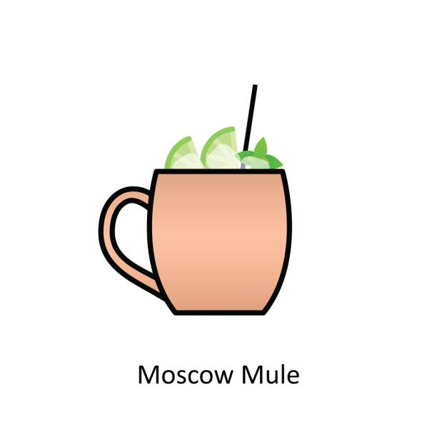 Moscow Mule cocktail icon in flat style Moscow Mule cocktail icon in flat style. Vector illustration mule stock illustrations