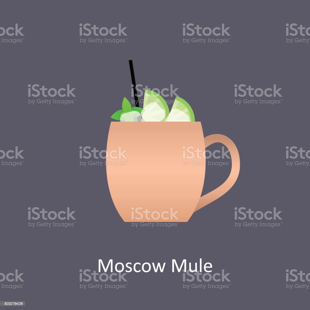 Moscow Mule cocktail icon on dark background in flat style vector art illustration