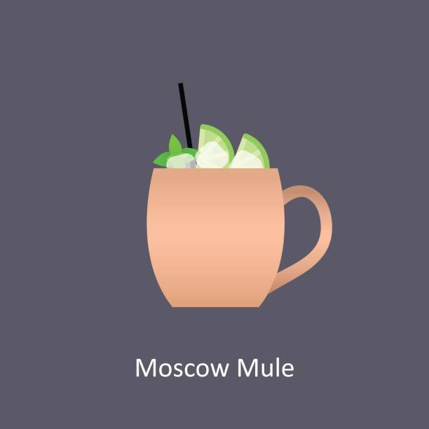 Moscow Mule cocktail icon on dark background in flat style Moscow Mule cocktail icon on dark background in flat style. Vector illustration mule stock illustrations