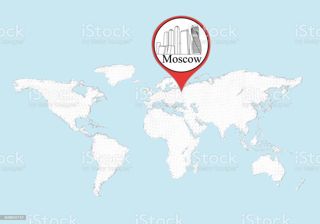 Moscow On The World Map Stock Vector Art More Images Of Abstract