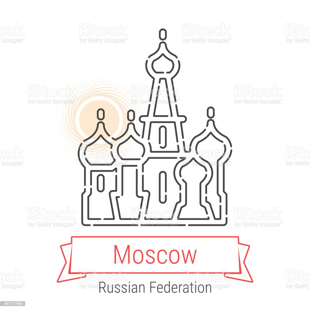 Moscow Russia Vector Line Icon Stock Vector Art More Images Of