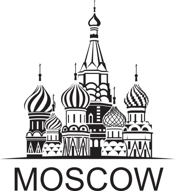 Moscow Saint Basil Cathedral illustration of Moscow Saint Basil Cathedral in Red square kremlin stock illustrations