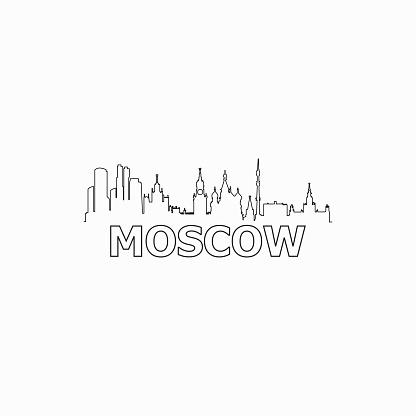 Moscow skyline and landmarks silhouette black vector icon. Moscow panorama. Russia