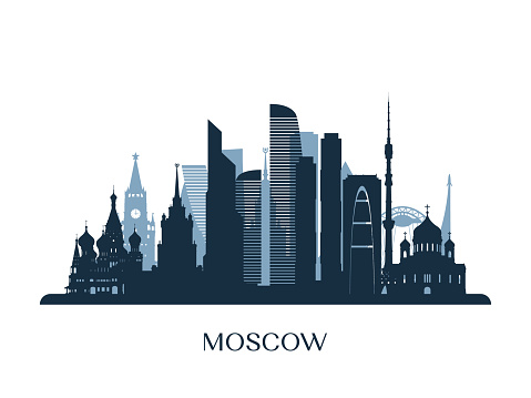 Moscow skyline, monochrome silhouette. Vector illustration.