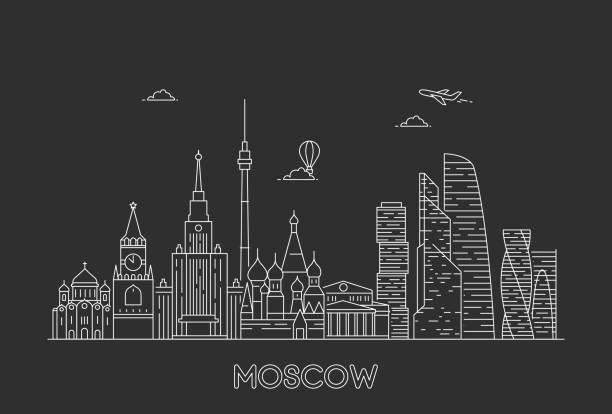 Moscow skyline, Russia. Moscow skyline, Russia. Line art style vector illustration kremlin stock illustrations