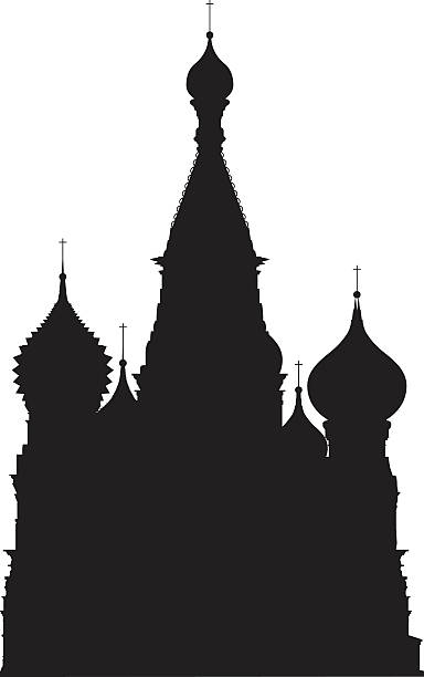 Moscow's Saint Basil's Cathedral The most famous landmark of Moscow. kremlin stock illustrations