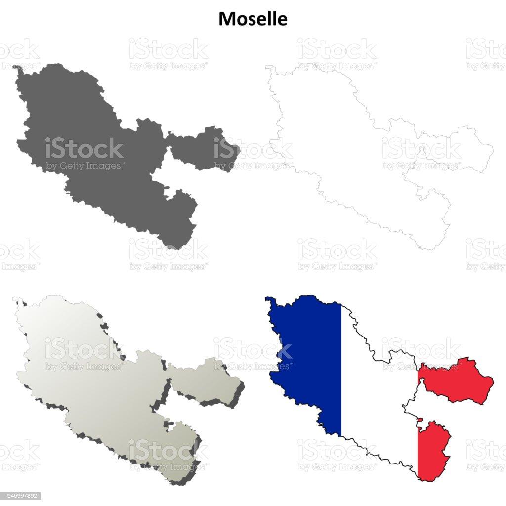 Lothringen Karte.Moselle Lothringen Umriss Karte Gesetzt Stock Vektor Art Und