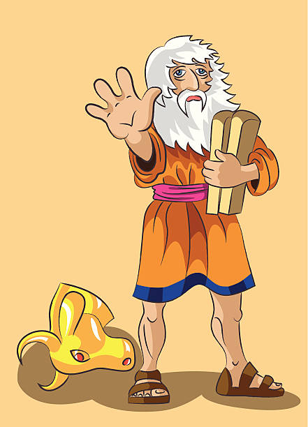 Moses and Precept stones Moses holds in a hand stones with 10 precepts and forbids to approach to the head of a golden calf. All layers separate, are easily edited, gradients and transparency aren't present moses religious figure stock illustrations