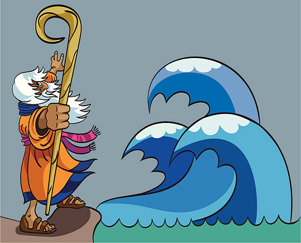 moses and red sea - old man pic cartoons stock illustrations, clip art, cartoons, & icons