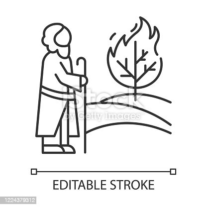 istock Moses and the burning bush Bible story linear icon. Prophet and tree in flame. Biblical narrative. Thin line illustration. Contour symbol. Vector isolated outline drawing. Editable stroke 1224379312
