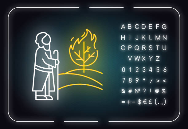 Moses and the burning bush Bible story neon light icon. Prophet and tree in flame. Religious legend. Biblical narrative. Glowing sign with alphabet, numbers and symbols. Vector isolated illustration Moses and the burning bush Bible story neon light icon. Prophet and tree in flame. Religious legend. Biblical narrative. Glowing sign with alphabet, numbers and symbols. Vector isolated illustration moses religious figure stock illustrations