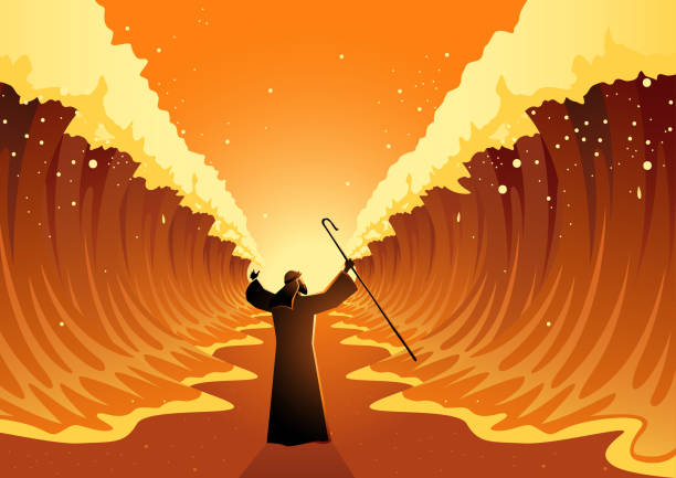 Moses and The Red Sea Biblical and religion vector illustration series, Moses held out his staff and the Red Sea was parted by God passover stock illustrations