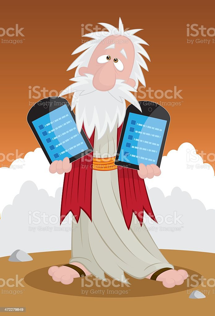 Moses Holding Modern Tablets royalty-free stock vector art