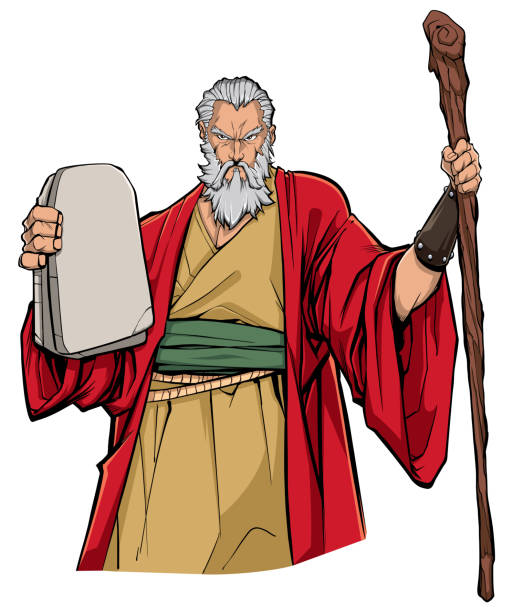 Moses Portrait Illustration Portrait of Moses holding the stone tablets with the Ten Commandments and his wooden staff. moses religious figure stock illustrations