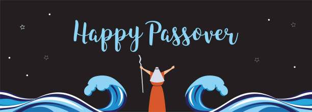moses separate sea for passover holiday over nigt background, flat design vector - passover stock illustrations, clip art, cartoons, & icons