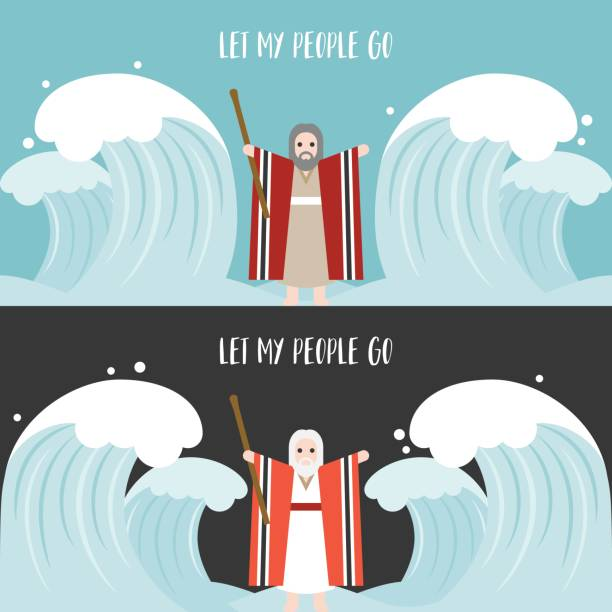 moses separate the sea in exodus - passover stock illustrations, clip art, cartoons, & icons