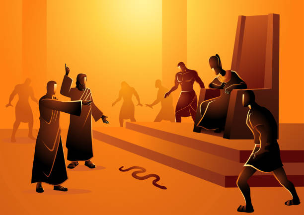 Moses Turn Staff Into Snake Biblical vector illustration series, Moses and Aaron went to Pharaoh and did what the Lord had commanded them. Aaron threw down his staff before Pharaoh and his officials, and it became a serpent moses religious figure stock illustrations