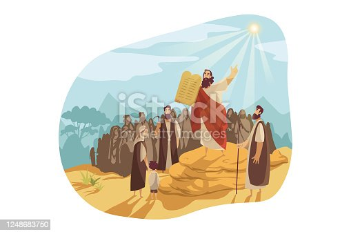 Moses with Gods tablets, Bible concept. Prophet Moses demonstrates to people of Israel stone tablets, receiving from god. Biblical illustration of ten commandments in cartoon style. Vector flat design