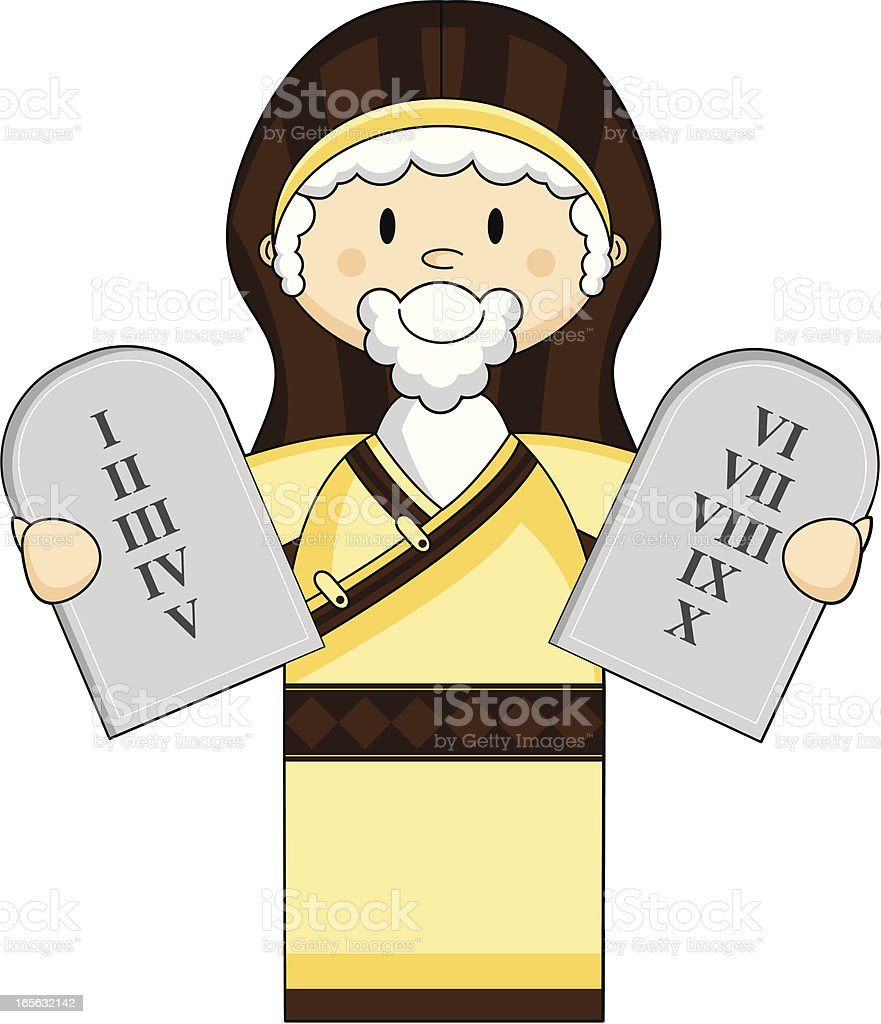 moses with the ten commandments stock vector art 165632142 istock