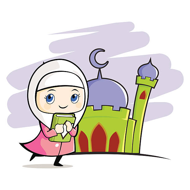 Moslem girl with mosque background vector art illustration
