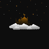 mosque above the clouds design vector illustration