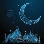 Abstract image of mosque and arabic moon in the form of a starry sky or space, consisting of points, lines, and shapes in the form of planets, stars and the universe. Vector Ramadan Kareem concept