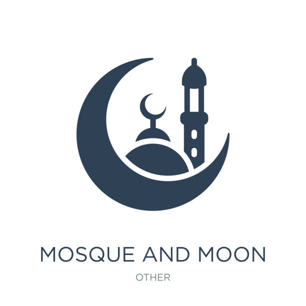 mosque and moon icon vector on white background, mosque and moon mosque and moon icon vector on white background, mosque and moon trendy filled icons from Other collection south caucasus stock illustrations