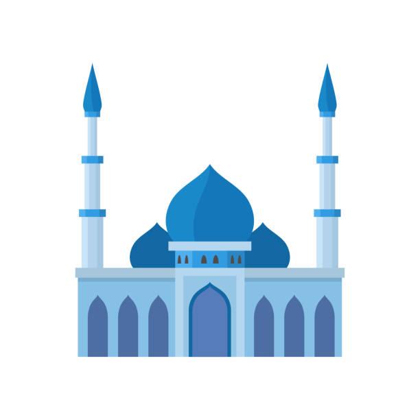 stockillustraties, clipart, cartoons en iconen met de bouw blauwe illustratie van de moskeebouw. de illustratie van de vector op witte achtergrond - oost duitsland
