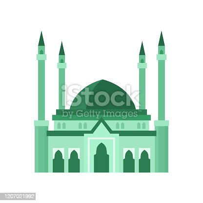 Mosque building green color vector illustration isolated on white. Concept or islam and muslim, mosque building with dome, religious architecture.