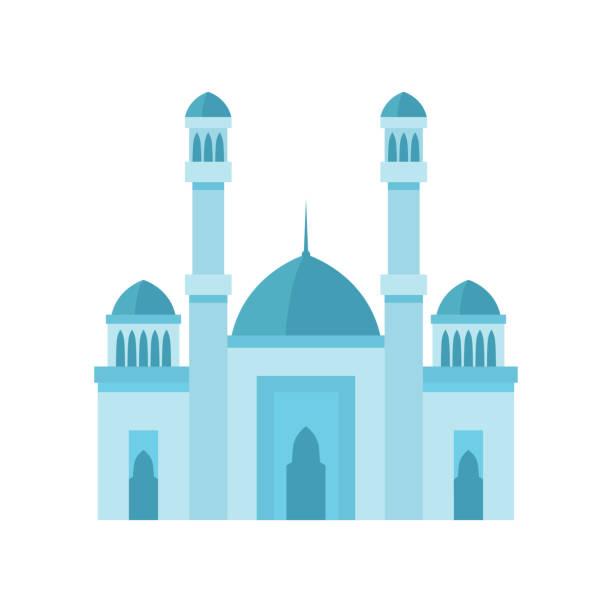 stockillustraties, clipart, cartoons en iconen met de bouw van de moskee lichtblauwe illustratie van de kleurenvector. - oost duitsland