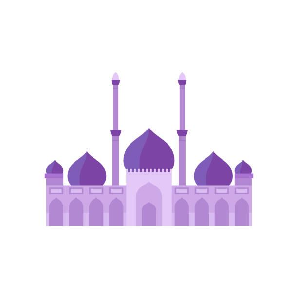 stockillustraties, clipart, cartoons en iconen met de bouw van moskee purpere illustratie van de kleurenvector. de illustratie van de vector op witte achtergrond - oost duitsland